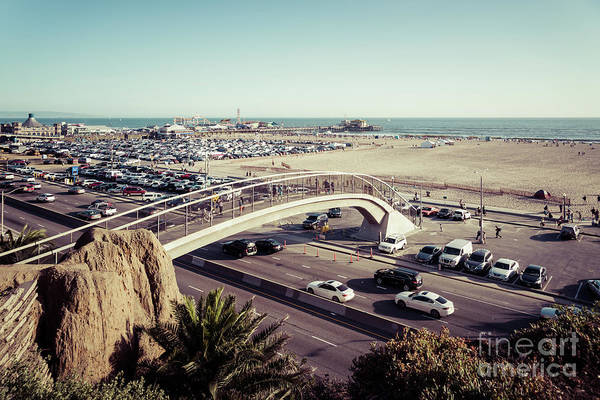 Wall Art - Photograph - Santa Monica Beach Pedestrian Bridge And Pier by Paul Velgos