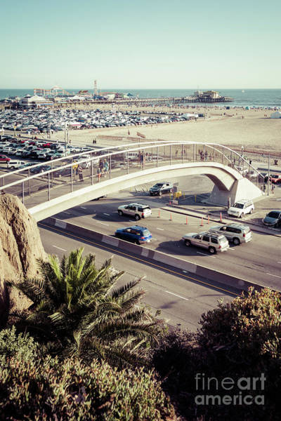 Wall Art - Photograph - Santa Monica Beach Pedestrian Bridge And Pier Photo by Paul Velgos