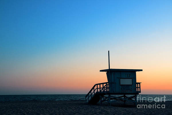Wall Art - Photograph - Santa Monica Beach Safeguard Tower At by Songquan Deng