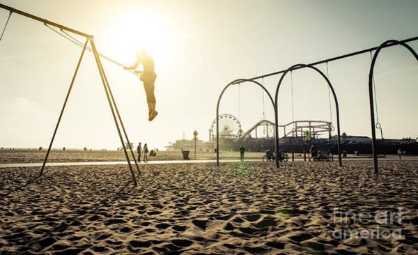 Santa Monica Beach. Silhouette Of A Art Print