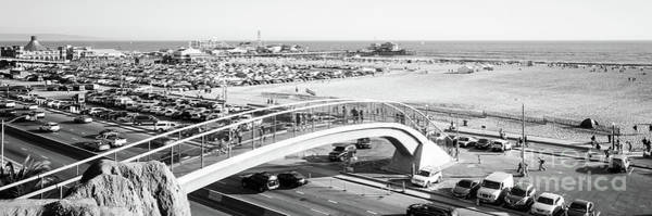 Wall Art - Photograph - Santa Monica Bridge Black And White Panorama Photo by Paul Velgos