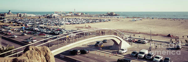 Wall Art - Photograph - Santa Monica Pedestrian Bridge And Pier Panorama Photo by Paul Velgos