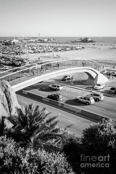 Wall Art - Photograph - Santa Monica Pedestrian Bridge Black And White Photo by Paul Velgos