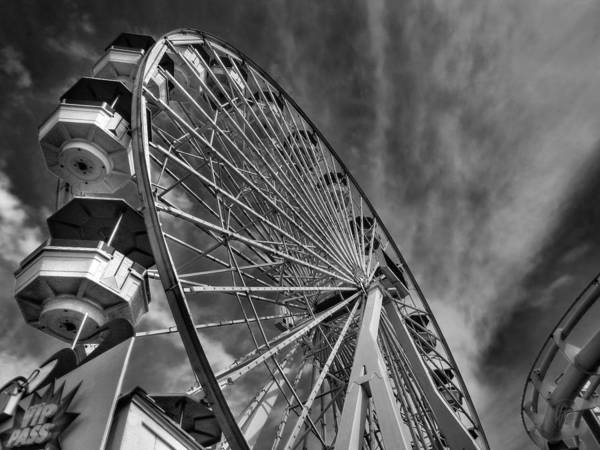 Photograph - Santa Monica Pier 006 Bw by Lance Vaughn