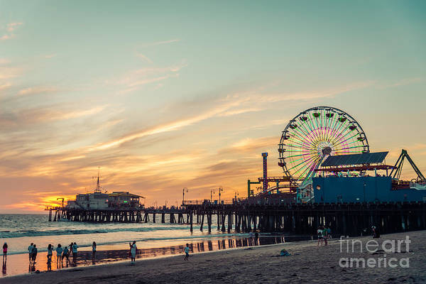 Ferris Wall Art - Photograph - Santa Monica Pier At Sunset, Los Angeles by Oneinchpunch