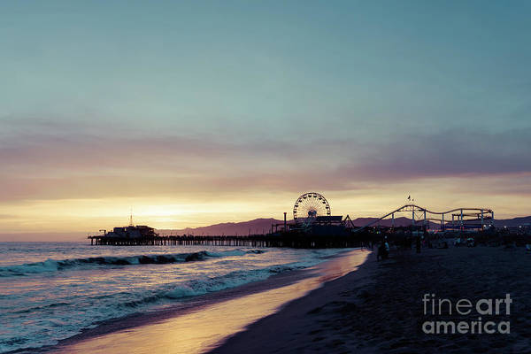 Wall Art - Photograph - Santa Monica Pier Beach Sunset Retro Photo by Paul Velgos