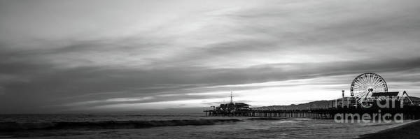Wall Art - Photograph - Santa Monica Pier Black And White Panorama Picture by Paul Velgos