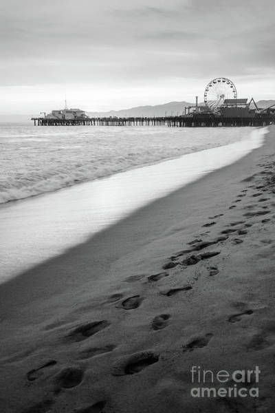 Footstep Wall Art - Photograph - Santa Monica Pier Black And White Vertical Photo by Paul Velgos