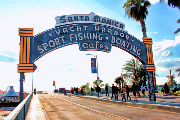 Painting - Santa Monica Pier Sign by Christopher Arndt