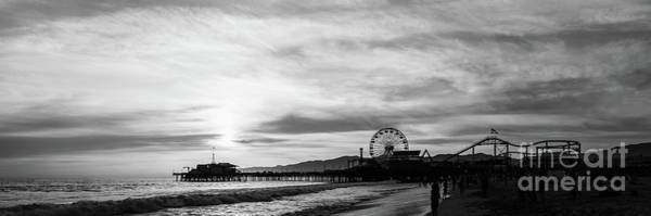 Wall Art - Photograph - Santa Monica Pier Sunset Black And White Panorama Photo by Paul Velgos