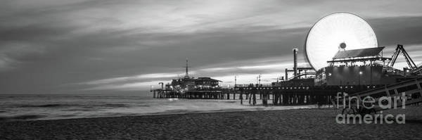 Wall Art - Photograph - Santa Monica Pier Sunset Black And White Panorama Photography by Paul Velgos