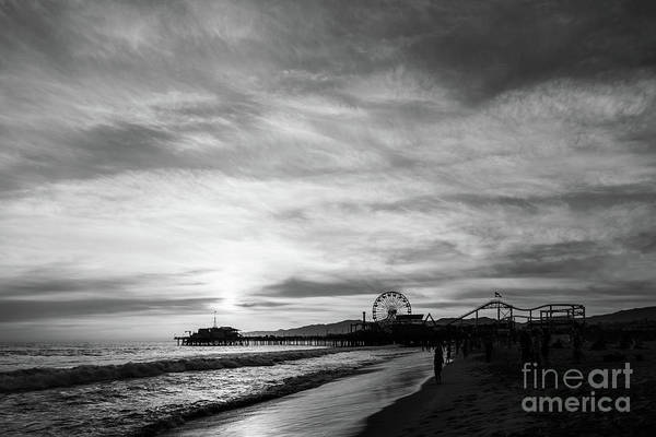 Wall Art - Photograph - Santa Monica Pier Sunset Black And White Photo by Paul Velgos