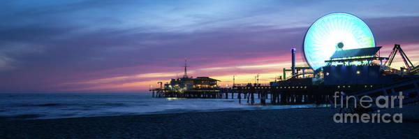 Wall Art - Photograph - Santa Monica Pier Sunset Panorama Photography by Paul Velgos
