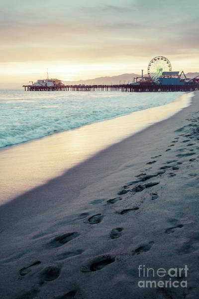 Footstep Wall Art - Photograph - Santa Monica Pier Sunset Retro Vertical Photo by Paul Velgos