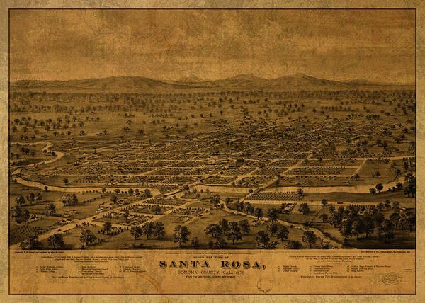Santa Mixed Media - Santa Rosa California Vintage City Street Map 1876 by Design Turnpike