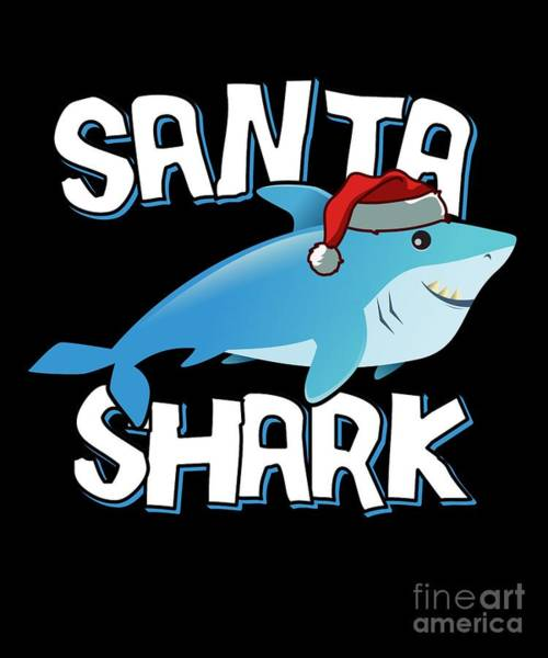 Digital Art - Santa Shark by Flippin Sweet Gear