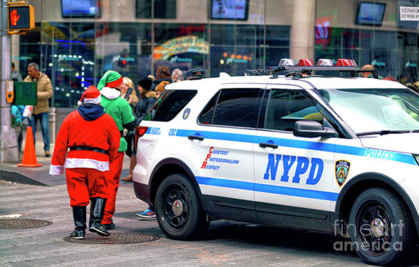 Photograph - Santa With The New York City Police Department by John Rizzuto