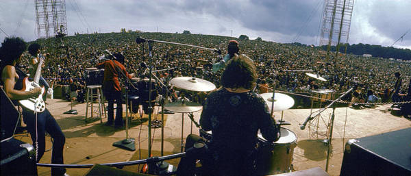 Fish Eye Lens Photograph - Santana Onstage At Woodstock by Bill Eppridge