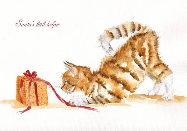 Wall Art - Painting - Santa's Little Helper by Debra Hall