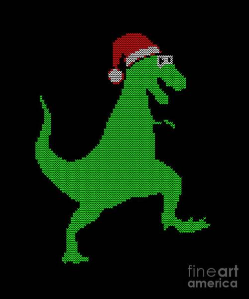 Ugly Digital Art - Santasaurus Ugly Christmas Sweater by Flippin Sweet Gear