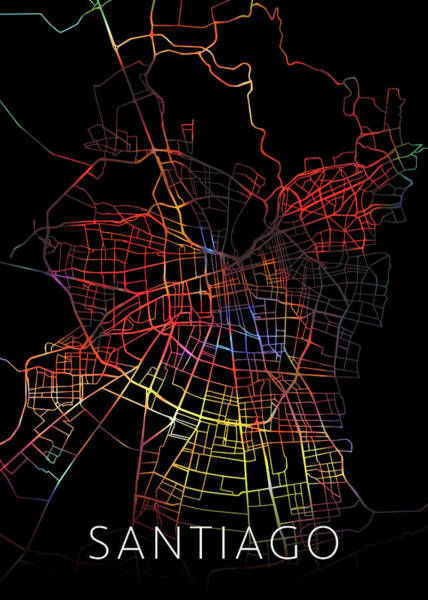 South America Mixed Media - Santiago Chile Watercolor City Street Map Dark Mode by Design Turnpike