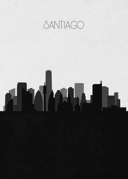 Digital Art - Santiago Cityscape Art by Inspirowl Design