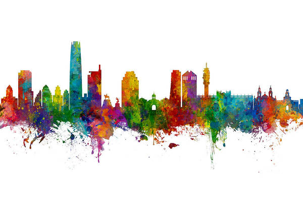 Wall Art - Digital Art - Santiago De Chile Skyline by Michael Tompsett
