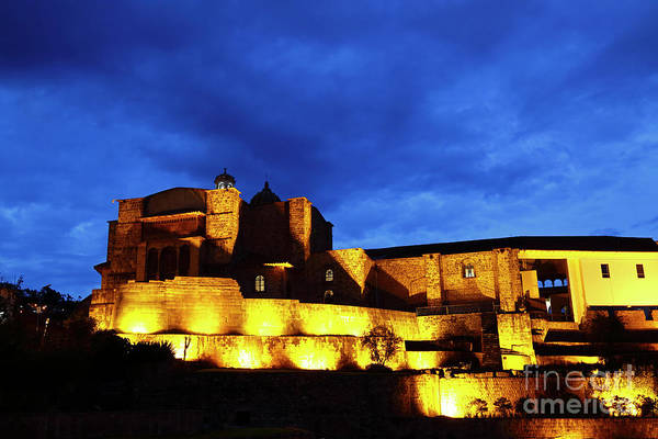 Photograph - Santo Domingo Convent At Blue Hour Cusco Peru by James Brunker
