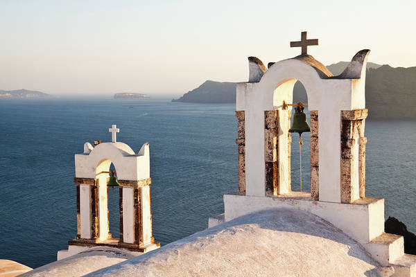 Bell Rock Photograph - Santorini Church Bells Overlooking by Melissa Tse