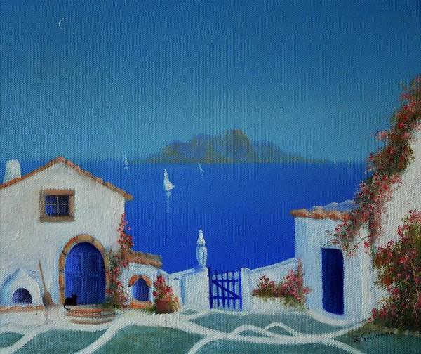Mama Mia Painting - Santorini Greek Blue by Ray Gilronan