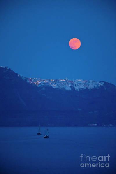 Photograph - Santorini Moonrise by Brian Jannsen