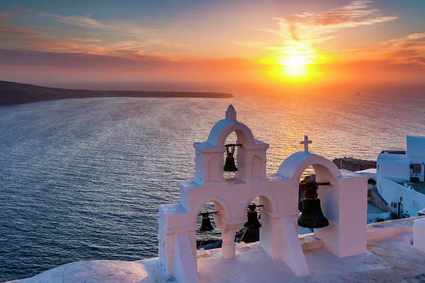 Aegean Sea Photograph - Santorini Sunset by Evgeni Dinev