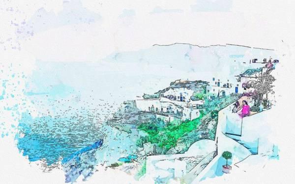 Wall Art - Painting - Santorini Village Greece 2 Watercolor By Ahmet Asar by Ahmet Asar