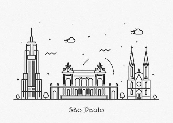 Drawing - Sao Paulo Cityscape Travel Poster by Inspirowl Design