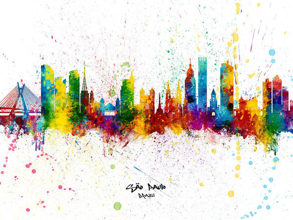 Wall Art - Digital Art - Sao Paulo Skyline Brazil by Michael Tompsett