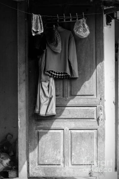 Wall Art - Photograph - Sapa Old Door Clothes Black White  by Chuck Kuhn