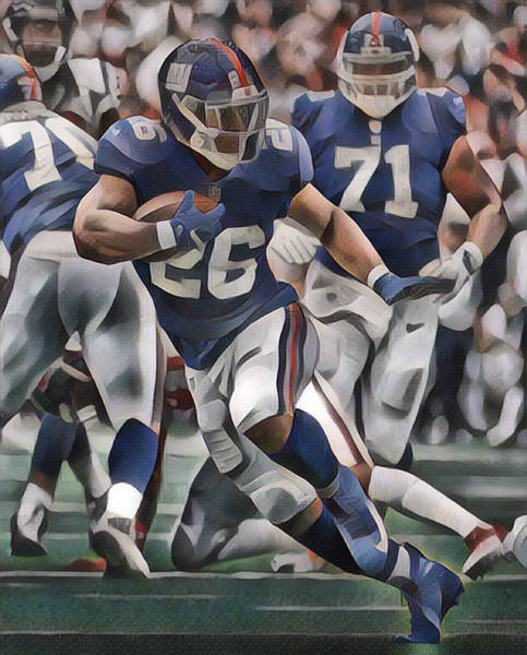 Wall Art - Mixed Media - Saquon Barkley New York Giants Abstract Art 1 by Joe Hamilton