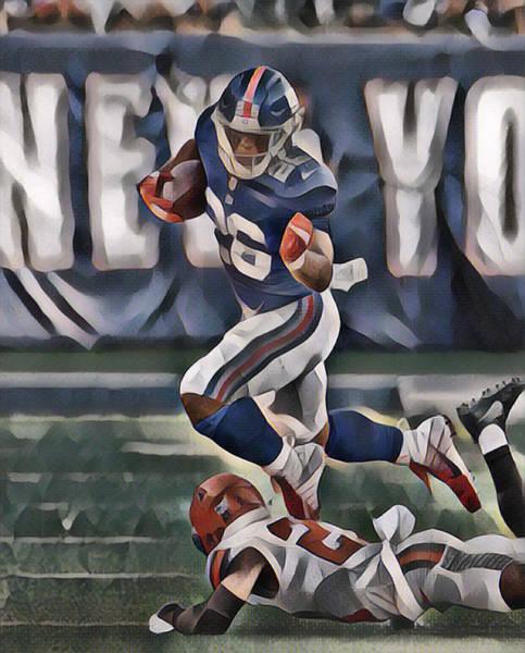 Wall Art - Mixed Media - Saquon Barkley New York Giants Abstract Art 2 by Joe Hamilton