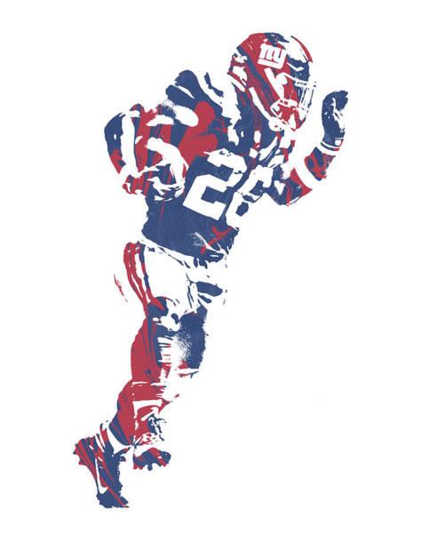 Wall Art - Mixed Media - Saquon Barkley New York Giants Pixel Art 10 by Joe Hamilton