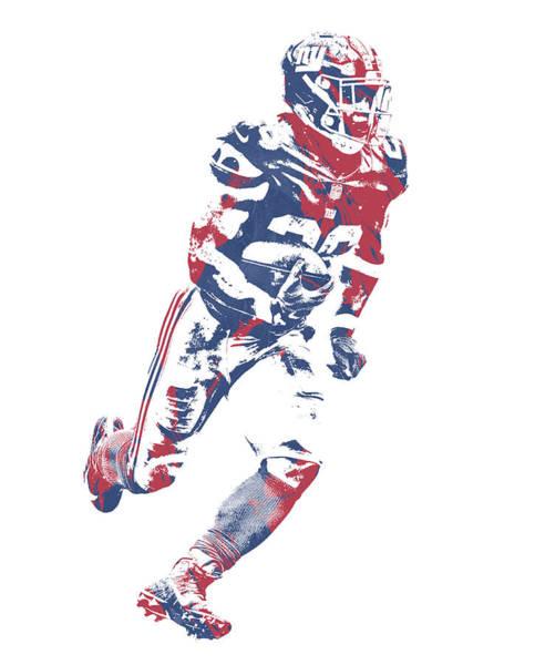 Wall Art - Mixed Media - Saquon Barkley New York Giants Pixel Art 12 by Joe Hamilton