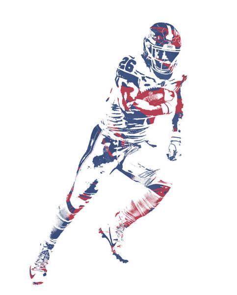 Wall Art - Mixed Media - Saquon Barkley New York Giants Pixel Art 13 by Joe Hamilton