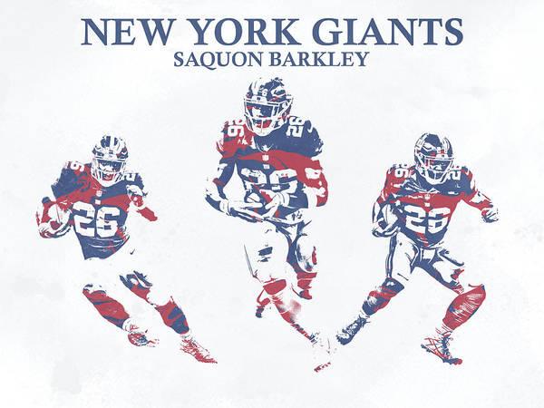 Wall Art - Mixed Media - Saquon Barkley New York Giants Pixel Art 26 by Joe Hamilton