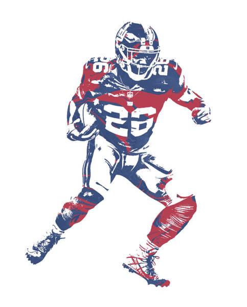Wall Art - Mixed Media - Saquon Barkley New York Giants Pixel Art 5 by Joe Hamilton