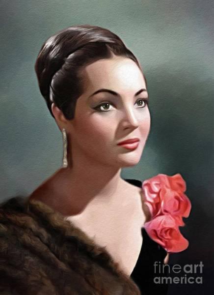 Sara Painting - Sara Montiel, Vintage Actress by John Springfield