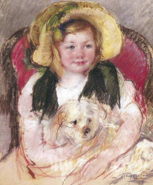 Wall Art - Painting - Sara With Her Dog In An Armchair, 1901 by Mary Stevenson Cassatt