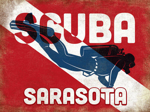 Wall Art - Digital Art - Sarasota Scuba Diver - Blue Retro by Flo Karp