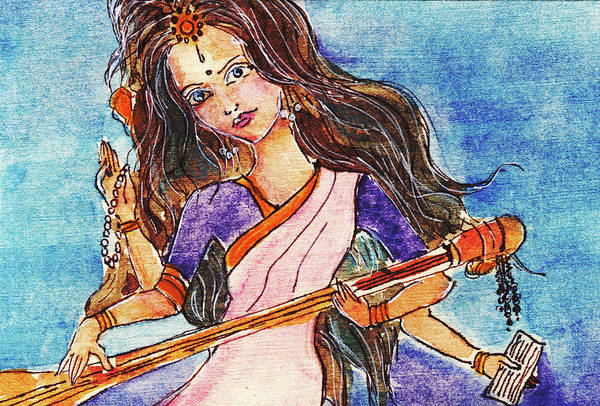 Hindu Goddess Wall Art - Painting - Saraswati Is The Hindu Goddess Of Knowledge, Music, Art, Wisdom, And Learning by Elena Sysoeva