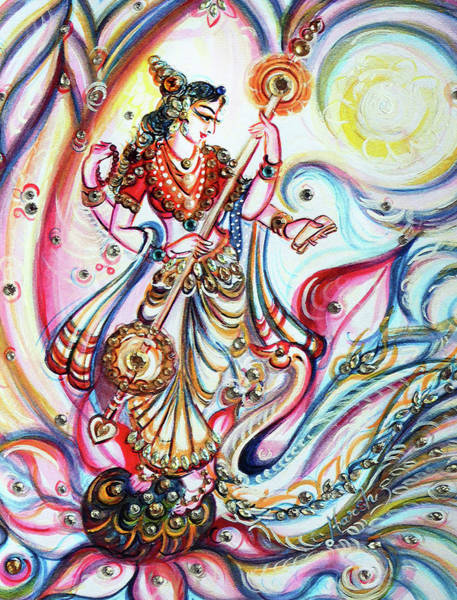 Hindu Goddess Wall Art - Painting - Saraswati - Musical  by Harsh Malik