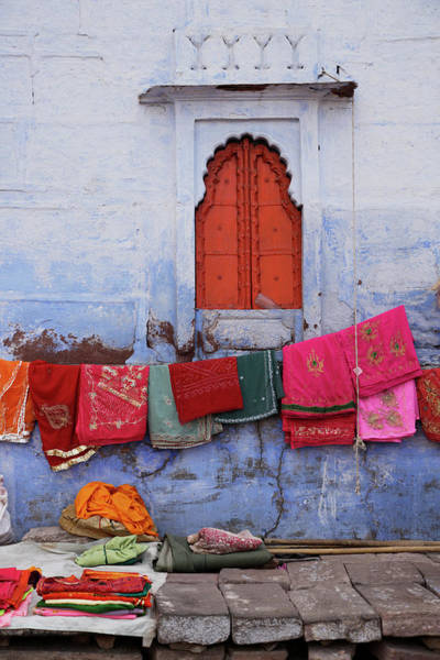 Jodhpur Wall Art - Photograph - Saris For Sale Outside Sadar Market by Asia Images