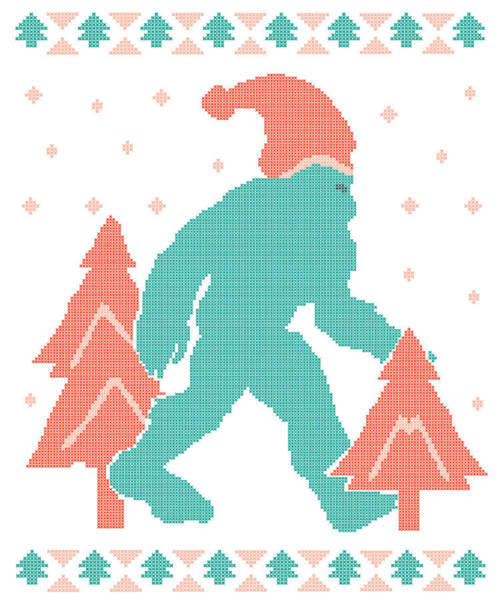 Ugly Digital Art - Sasquatch Christmas Ugly Sweater Inspired Design by Hope and Hobby